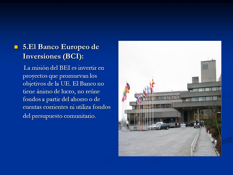 5.El Banco Europeo de Inversiones (BCI):