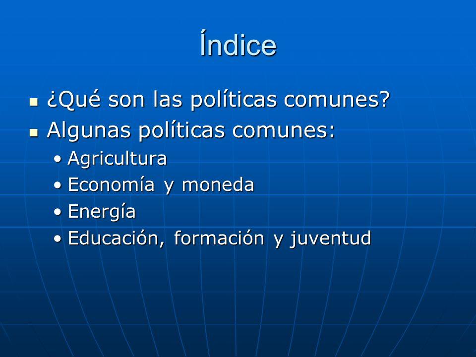 Índice ¿Qué son las políticas comunes Algunas políticas comunes:
