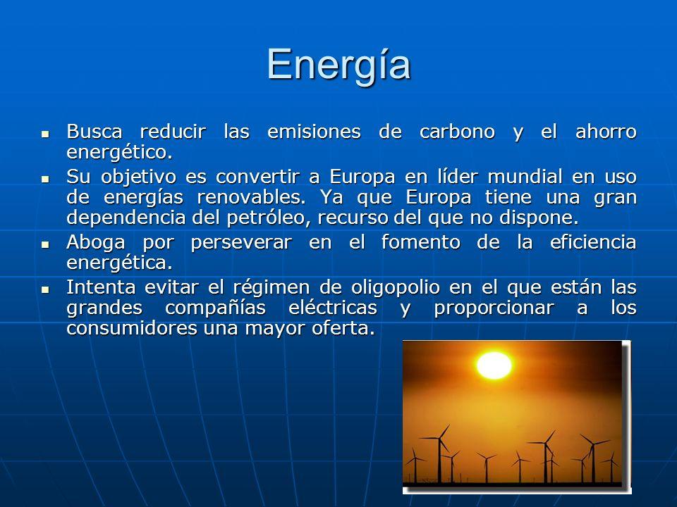 Energía Busca reducir las emisiones de carbono y el ahorro energético.