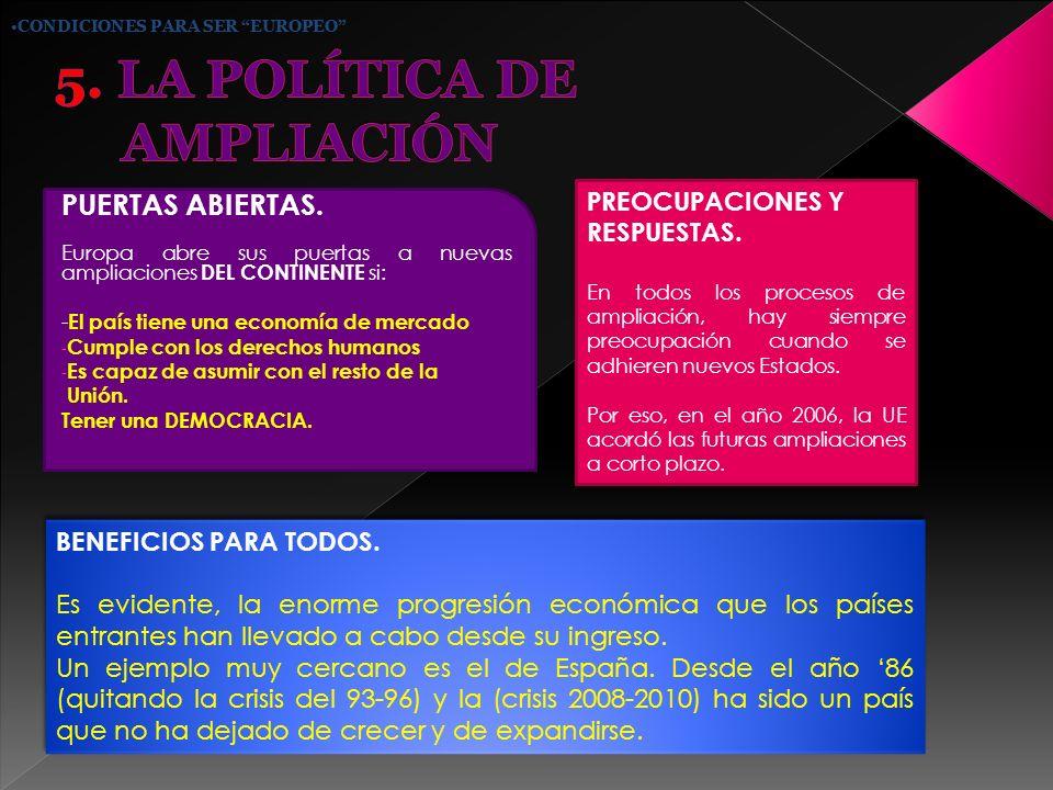 5. LA POLÍTICA DE AMPLIACIÓN
