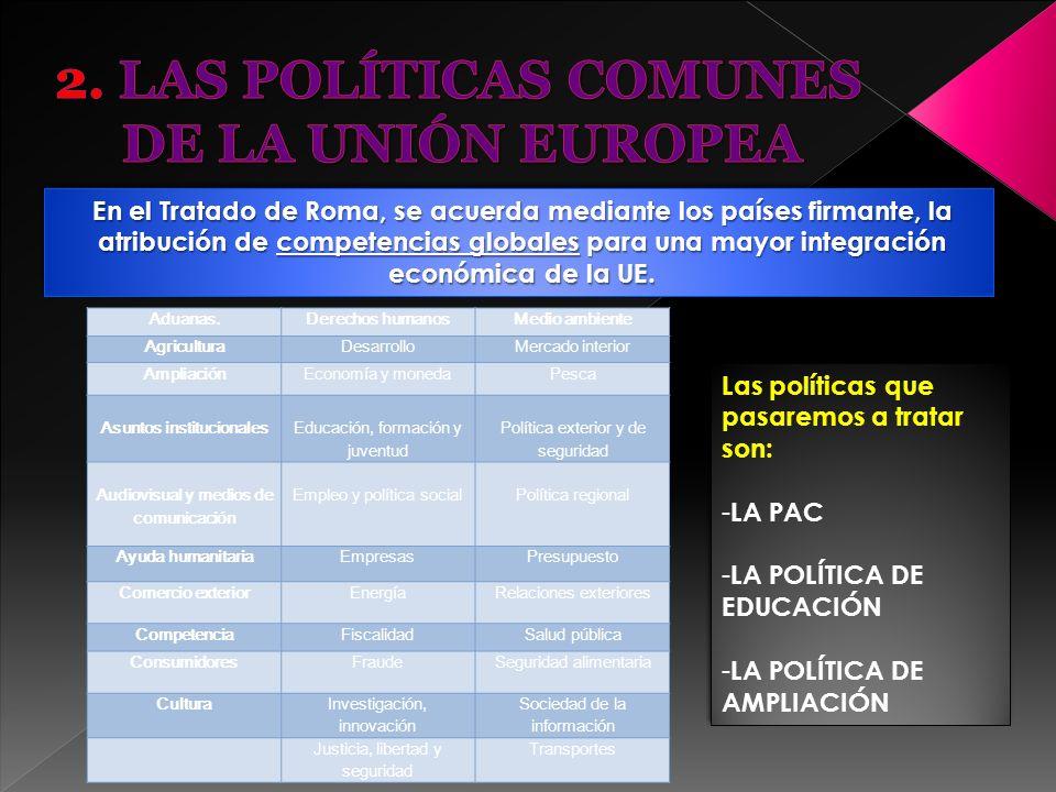 2. LAS POLÍTICAS COMUNES DE LA UNIÓN EUROPEA