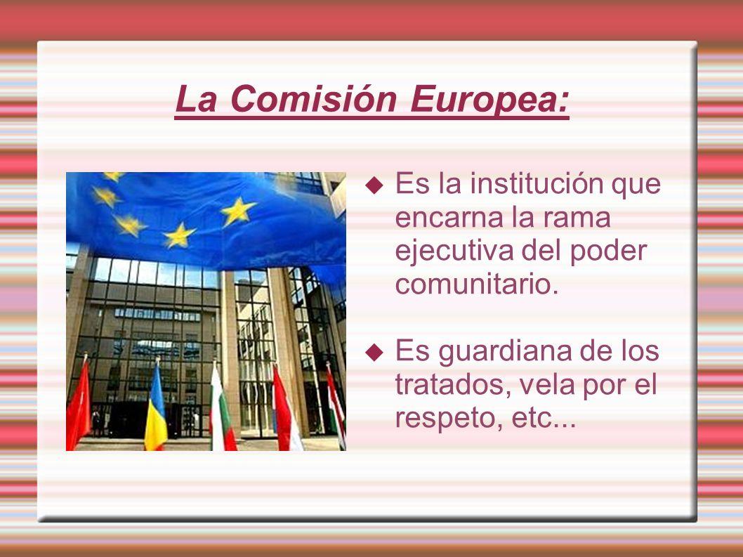 La Comisión Europea:Es la institución que encarna la rama ejecutiva del poder comunitario.