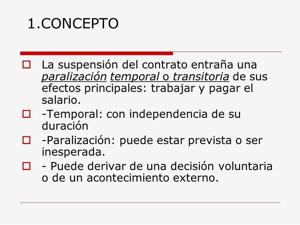 1.CONCEPTO La suspensión del contrato entraña una paralización temporal o transitoria de sus efectos principales: trabajar y pagar el salario.