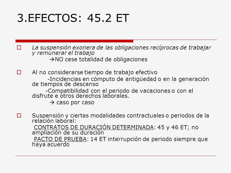 3.EFECTOS: 45.2 ETLa suspensión exonera de las obligaciones recíprocas de trabajar y remunerar el trabajo.