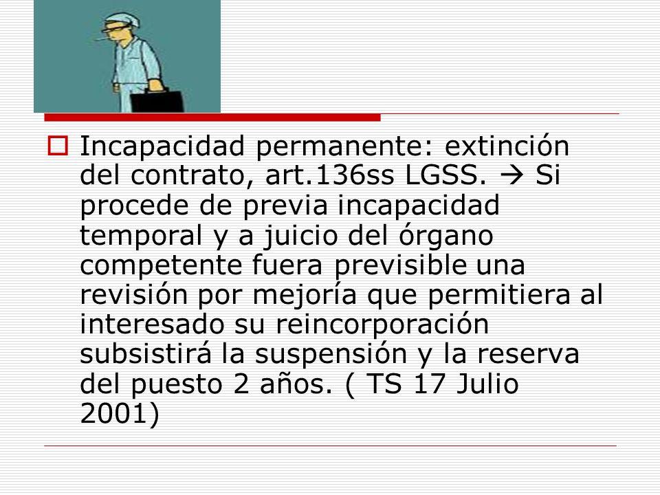 Incapacidad permanente: extinción del contrato, art. 136ss LGSS
