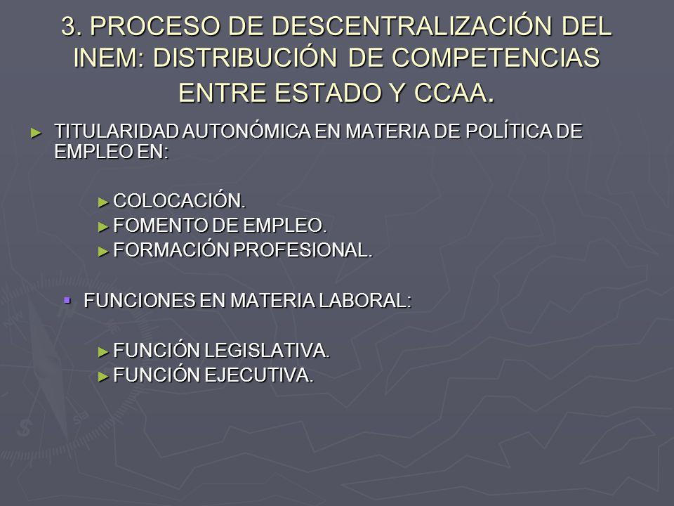 3. PROCESO DE DESCENTRALIZACIÓN DEL INEM: DISTRIBUCIÓN DE COMPETENCIAS ENTRE ESTADO Y CCAA.