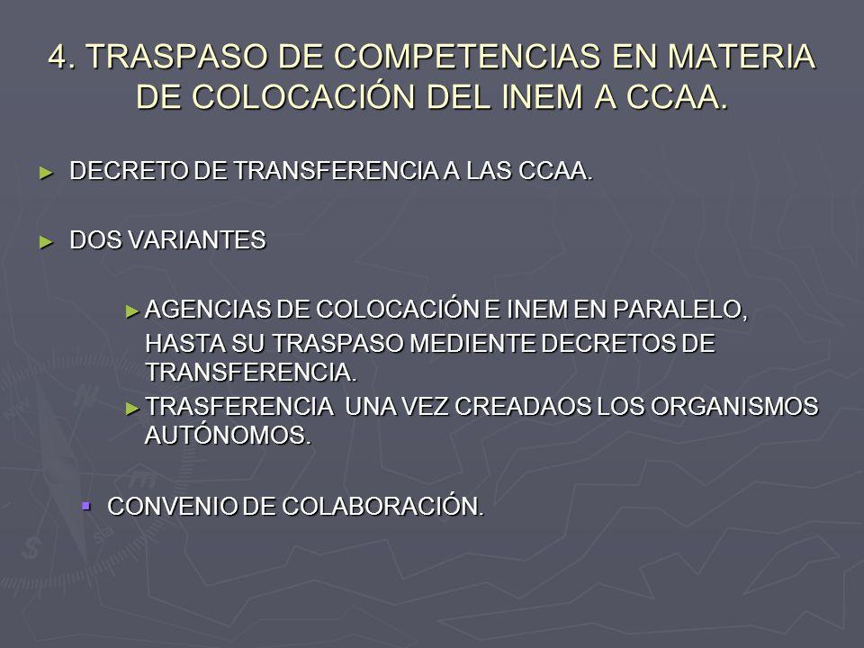 4. TRASPASO DE COMPETENCIAS EN MATERIA DE COLOCACIÓN DEL INEM A CCAA.