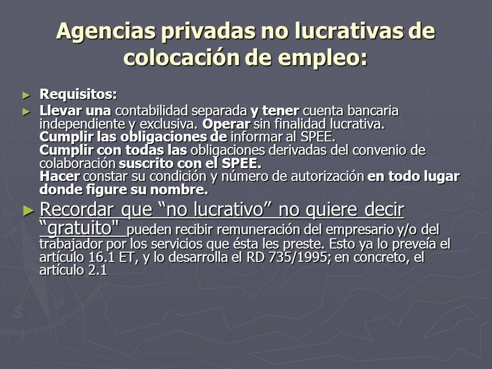 Agencias privadas no lucrativas de colocación de empleo: