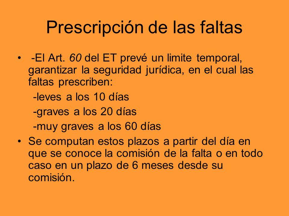Prescripción de las faltas