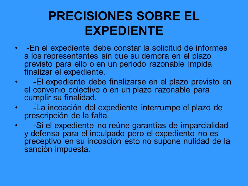 PRECISIONES SOBRE EL EXPEDIENTE