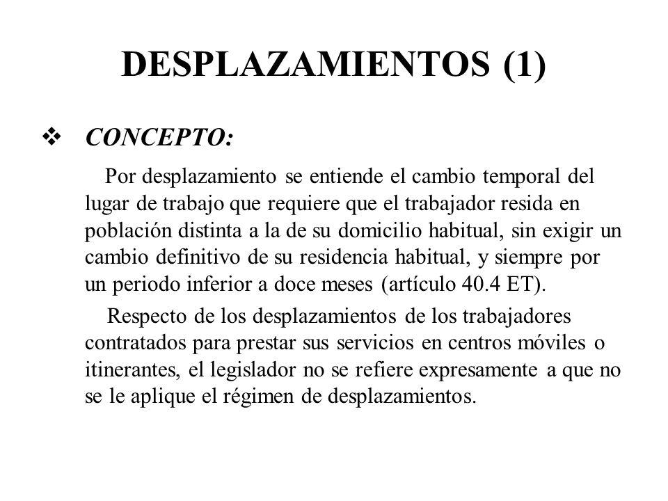 DESPLAZAMIENTOS (1) CONCEPTO: