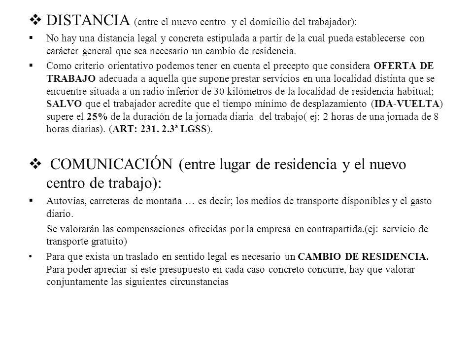 DISTANCIA (entre el nuevo centro y el domicilio del trabajador):