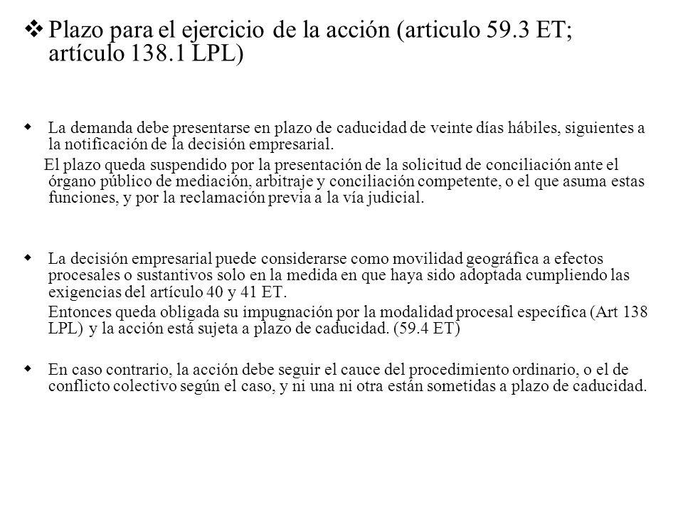 Plazo para el ejercicio de la acción (articulo 59. 3 ET; artículo 138