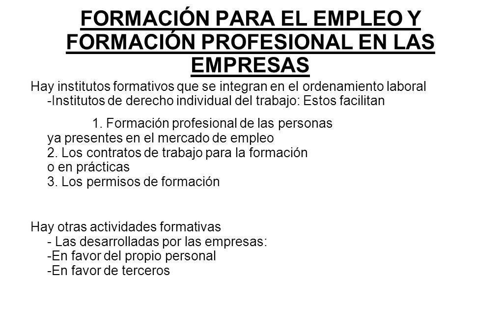 FORMACIÓN PARA EL EMPLEO Y FORMACIÓN PROFESIONAL EN LAS EMPRESAS