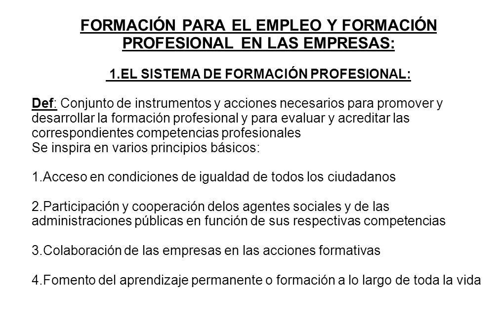 FORMACIÓN PARA EL EMPLEO Y FORMACIÓN PROFESIONAL EN LAS EMPRESAS: