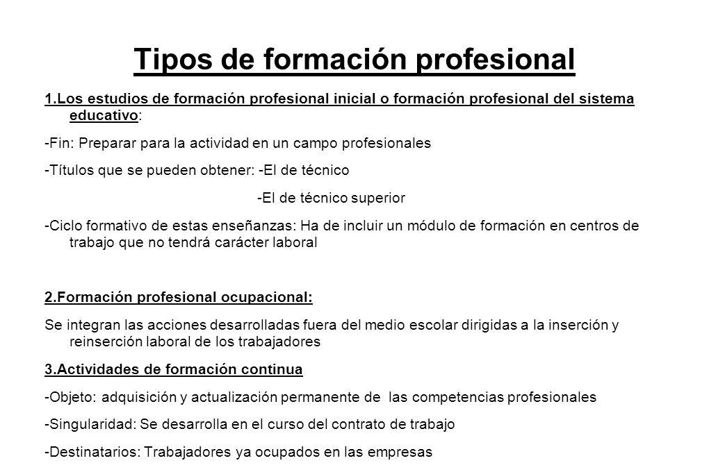 Tipos de formación profesional
