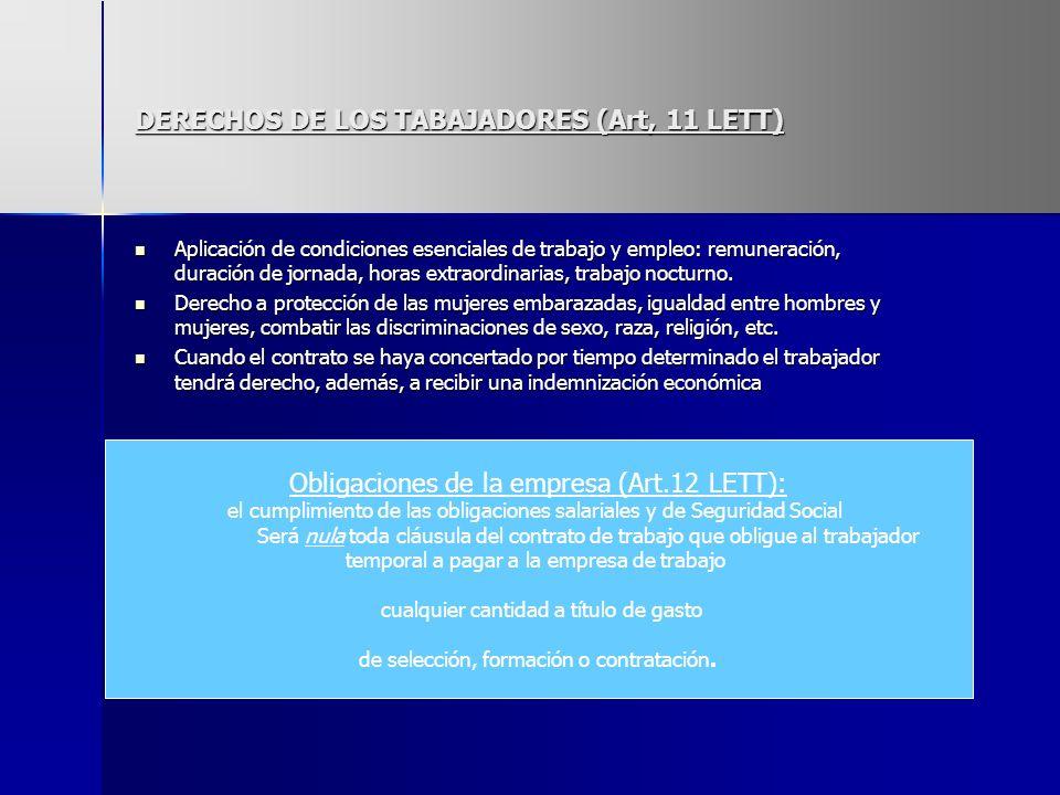 DERECHOS DE LOS TABAJADORES (Art, 11 LETT)