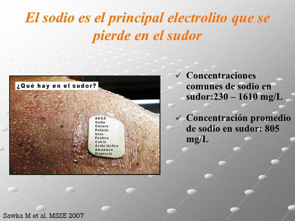 El sodio es el principal electrolito que se pierde en el sudor