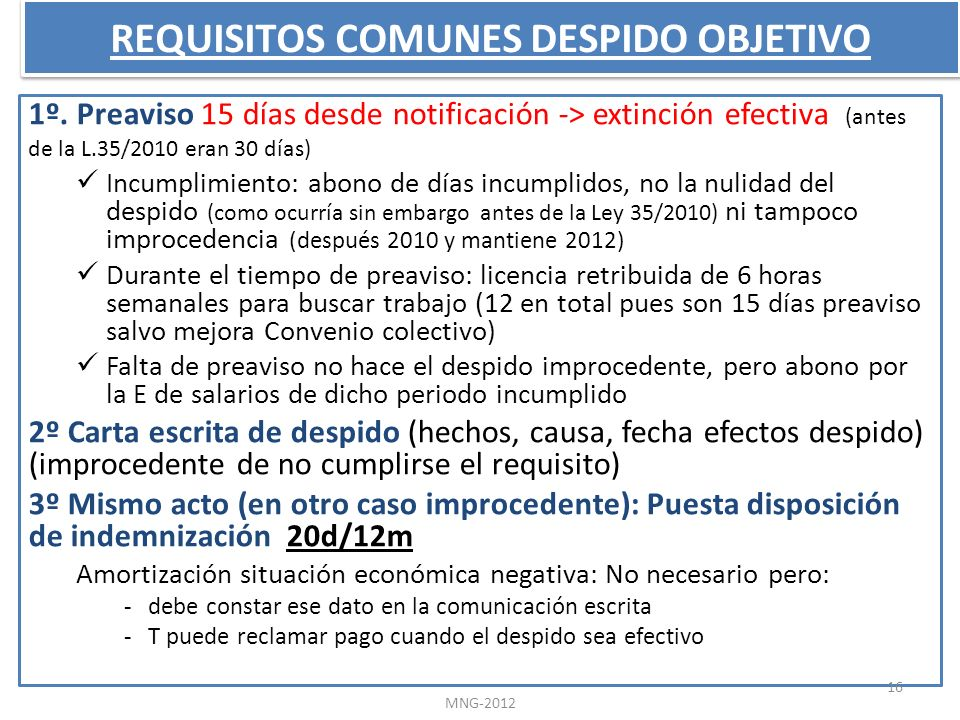 REQUISITOS COMUNES DESPIDO OBJETIVO