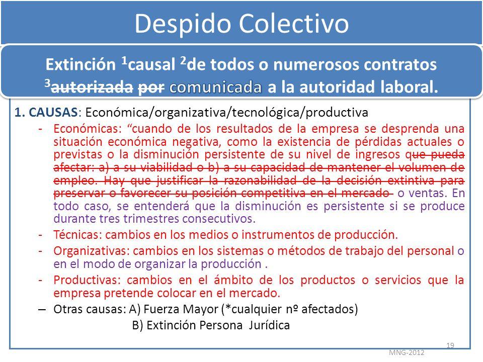 Despido Colectivo Extinción 1causal 2de todos o numerosos contratos 3autorizada por comunicada a la autoridad laboral.