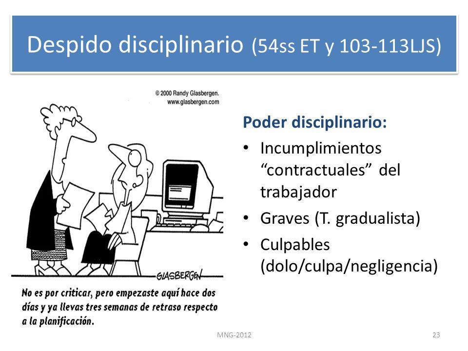 Despido disciplinario (54ss ET y 103-113LJS)