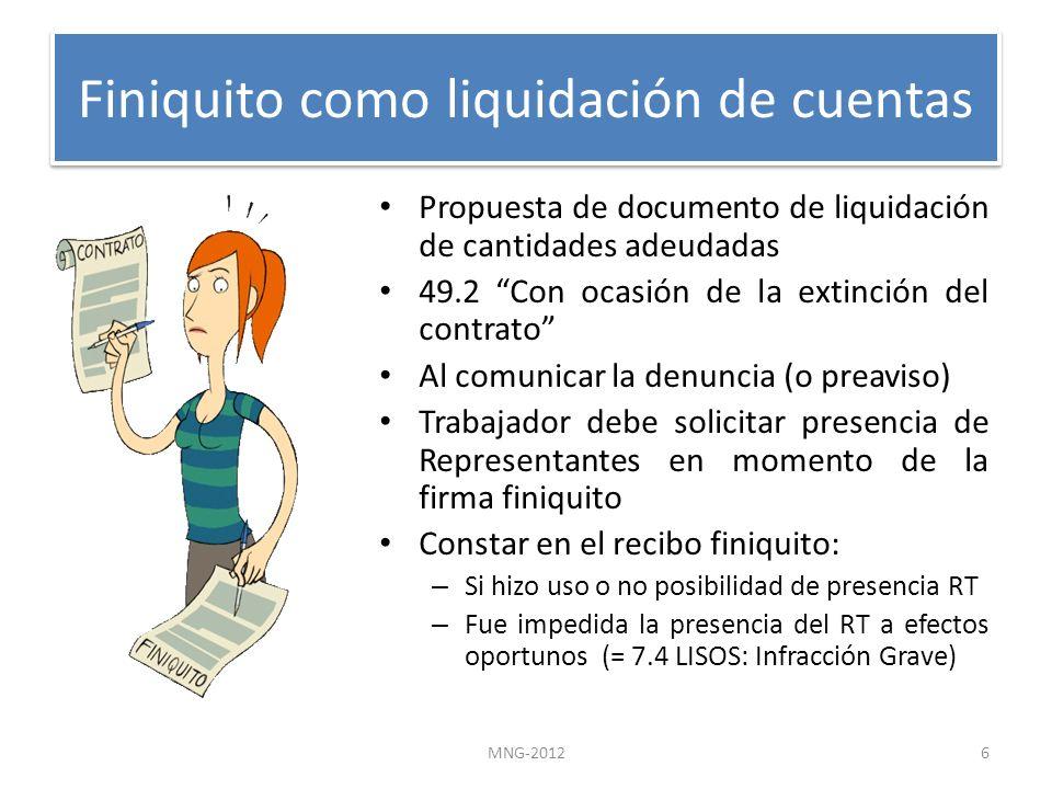 Finiquito como liquidación de cuentas