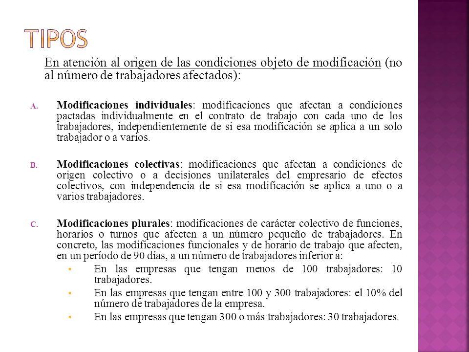 TIPOS En atención al origen de las condiciones objeto de modificación (no al número de trabajadores afectados):