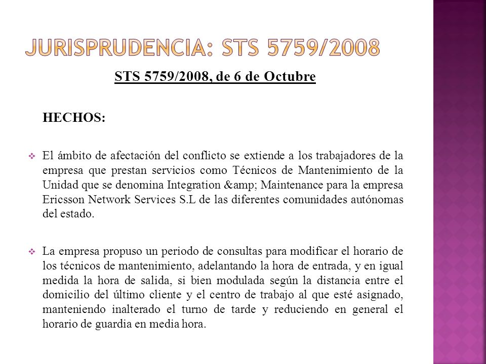 Jurisprudencia: STS 5759/2008 STS 5759/2008, de 6 de Octubre HECHOS: