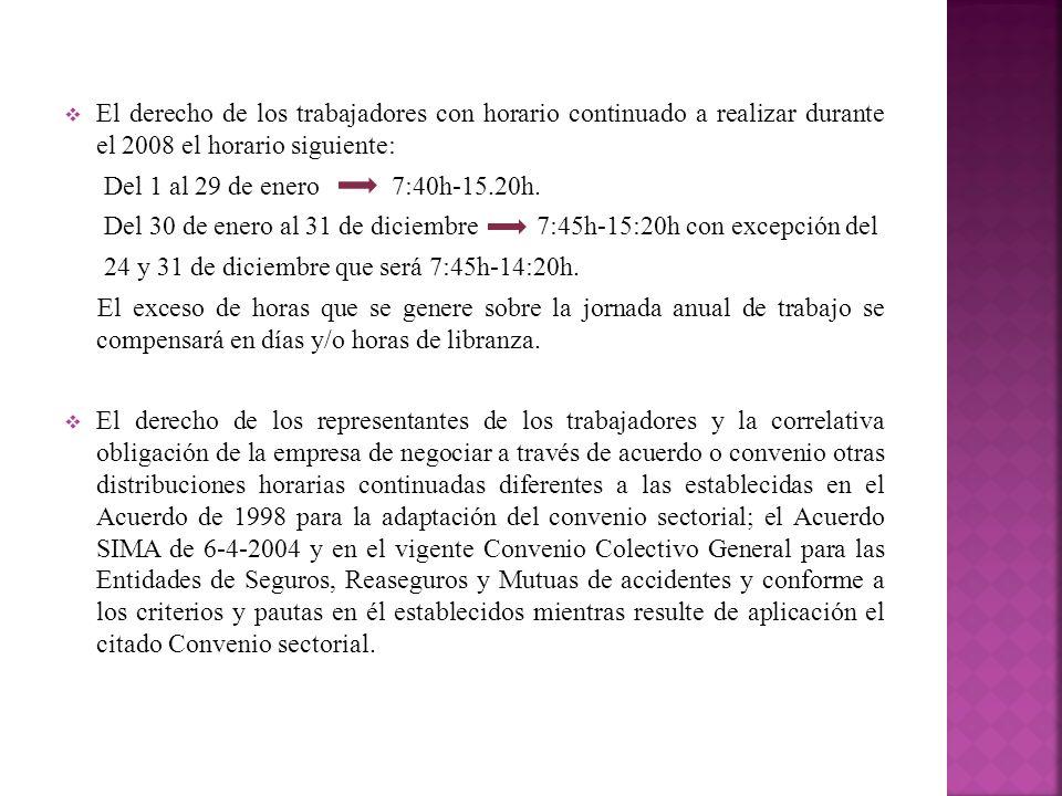 El derecho de los trabajadores con horario continuado a realizar durante el 2008 el horario siguiente: