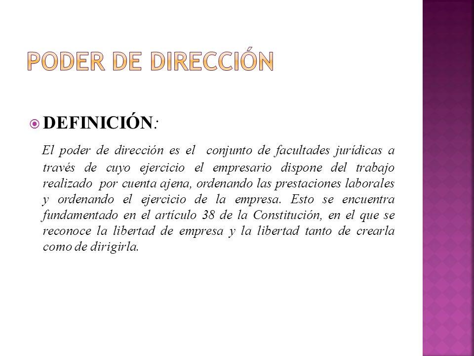 Poder de dirección DEFINICIÓN: