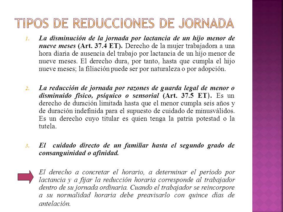 TIPOS DE REDUCCIONES DE JORNADA