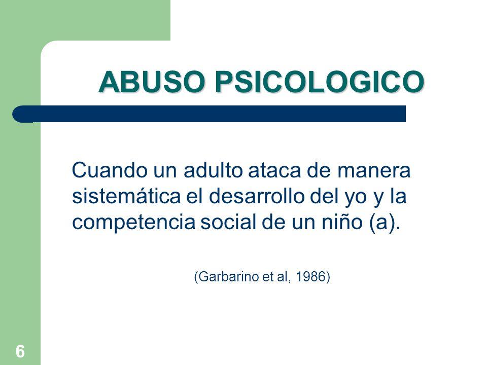 ABUSO PSICOLOGICO Cuando un adulto ataca de manera sistemática el desarrollo del yo y la competencia social de un niño (a).