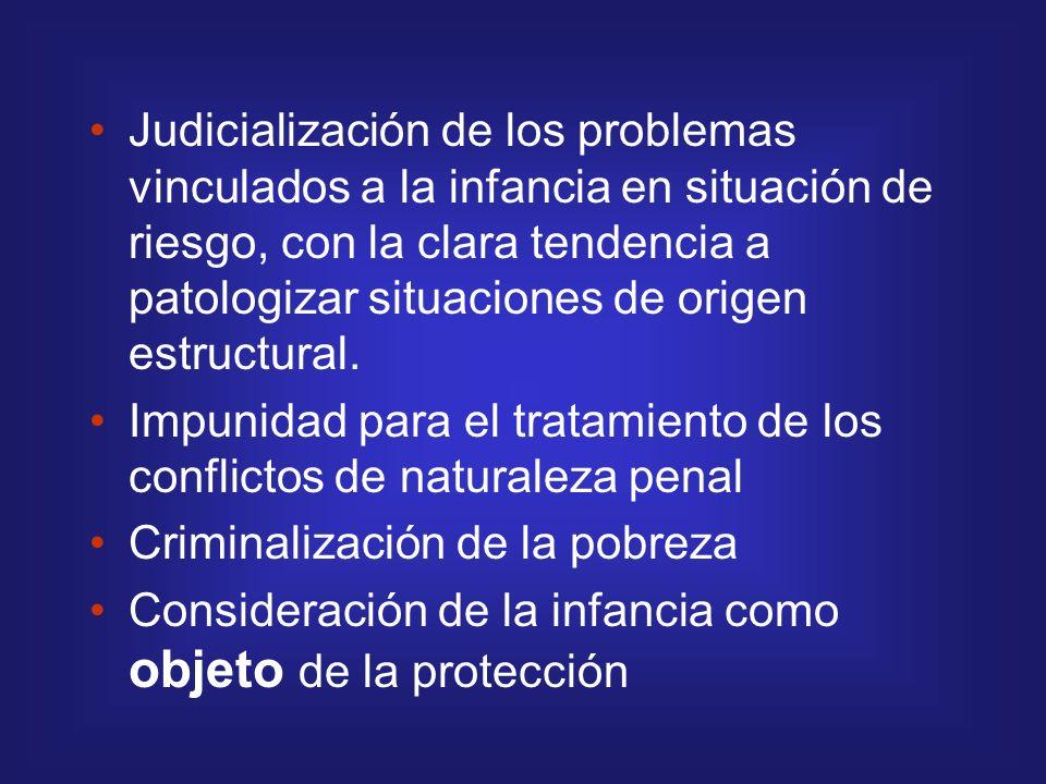 Judicialización de los problemas vinculados a la infancia en situación de riesgo, con la clara tendencia a patologizar situaciones de origen estructural.
