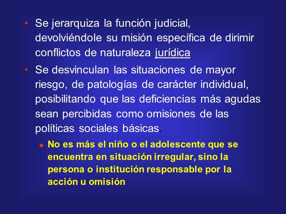 Se jerarquiza la función judicial, devolviéndole su misión específica de dirimir conflictos de naturaleza jurídica