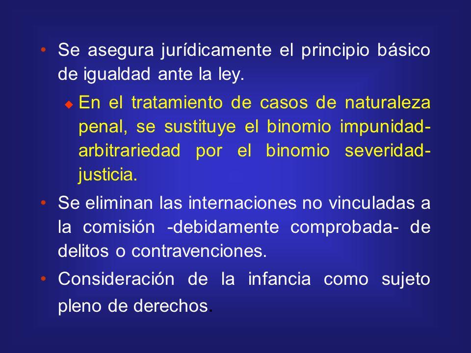 Se asegura jurídicamente el principio básico de igualdad ante la ley.