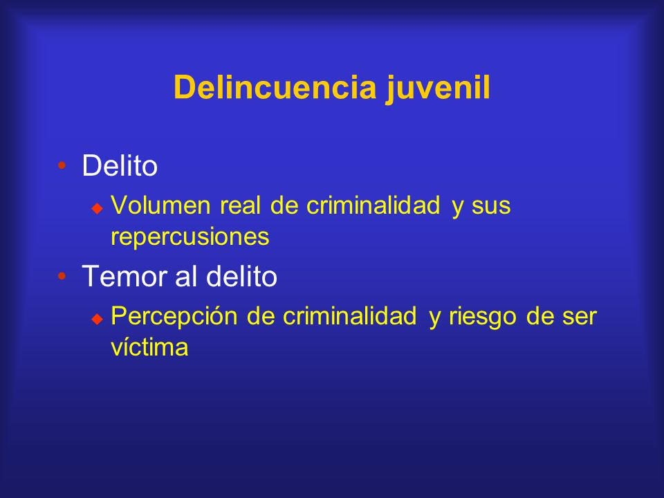 Delincuencia juvenil Delito Temor al delito