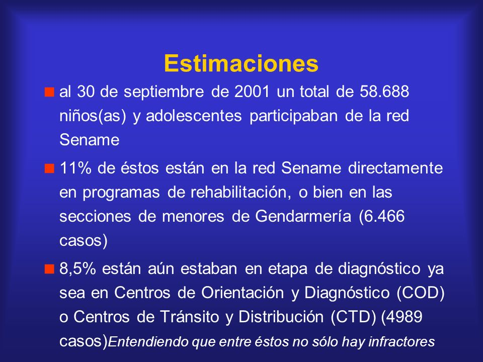 Estimaciones al 30 de septiembre de 2001 un total de 58.688 niños(as) y adolescentes participaban de la red Sename.