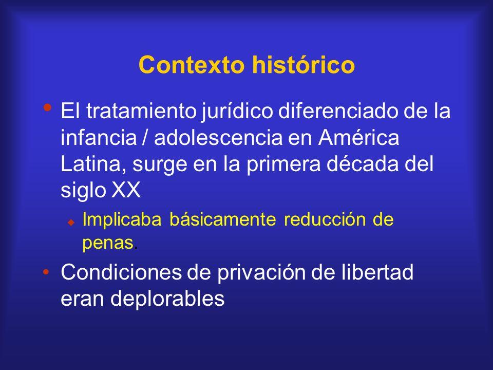 Contexto histórico El tratamiento jurídico diferenciado de la infancia / adolescencia en América Latina, surge en la primera década del siglo XX.