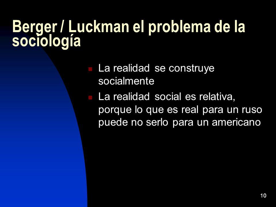 Berger / Luckman el problema de la sociología