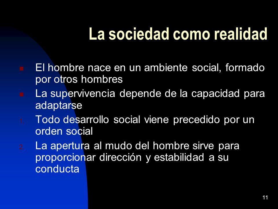 La sociedad como realidad
