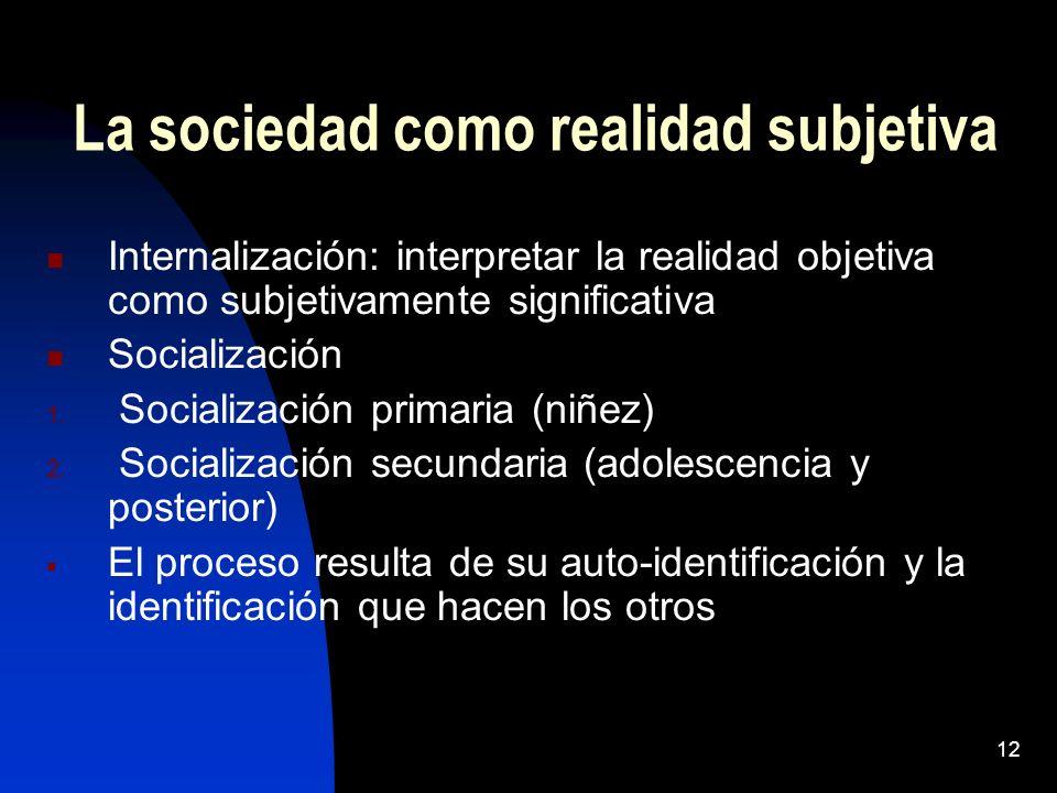 La sociedad como realidad subjetiva
