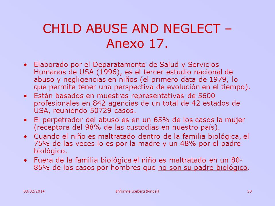 CHILD ABUSE AND NEGLECT – Anexo 17.