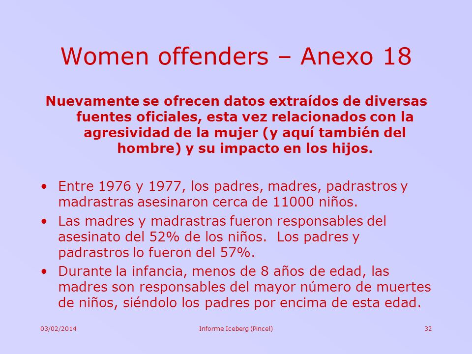 Women offenders – Anexo 18