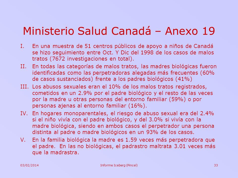 Ministerio Salud Canadá – Anexo 19