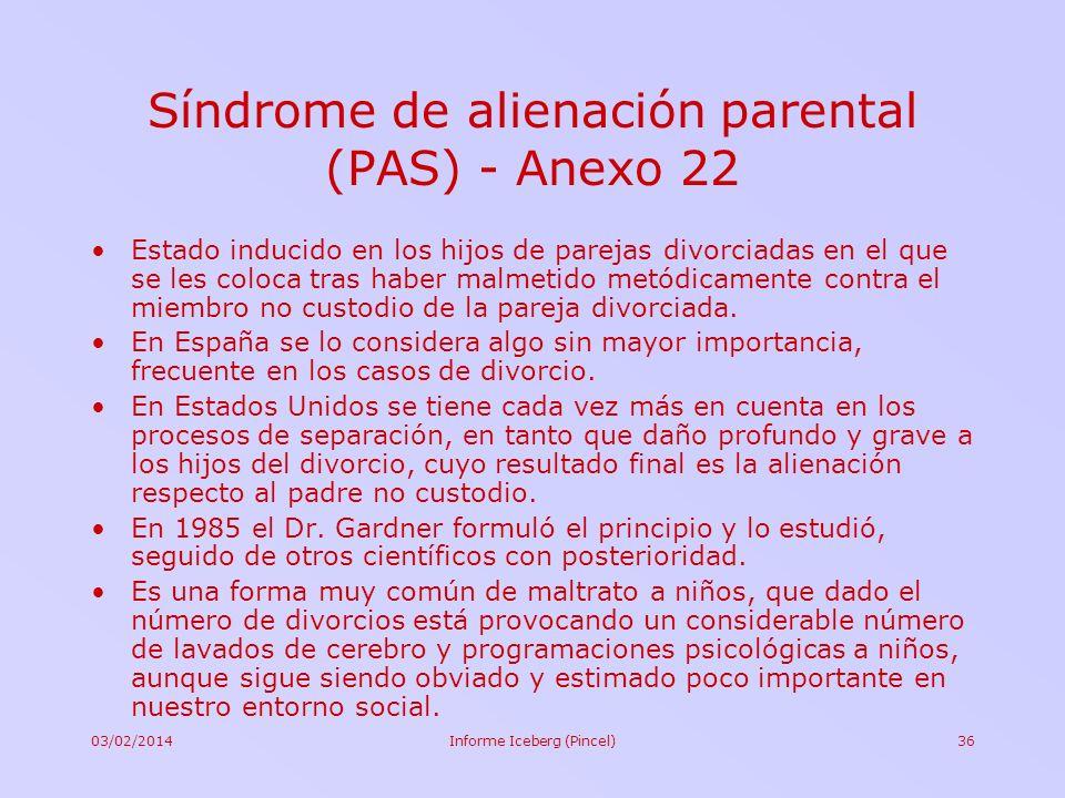 Síndrome de alienación parental (PAS) - Anexo 22