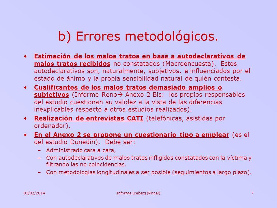 b) Errores metodológicos.