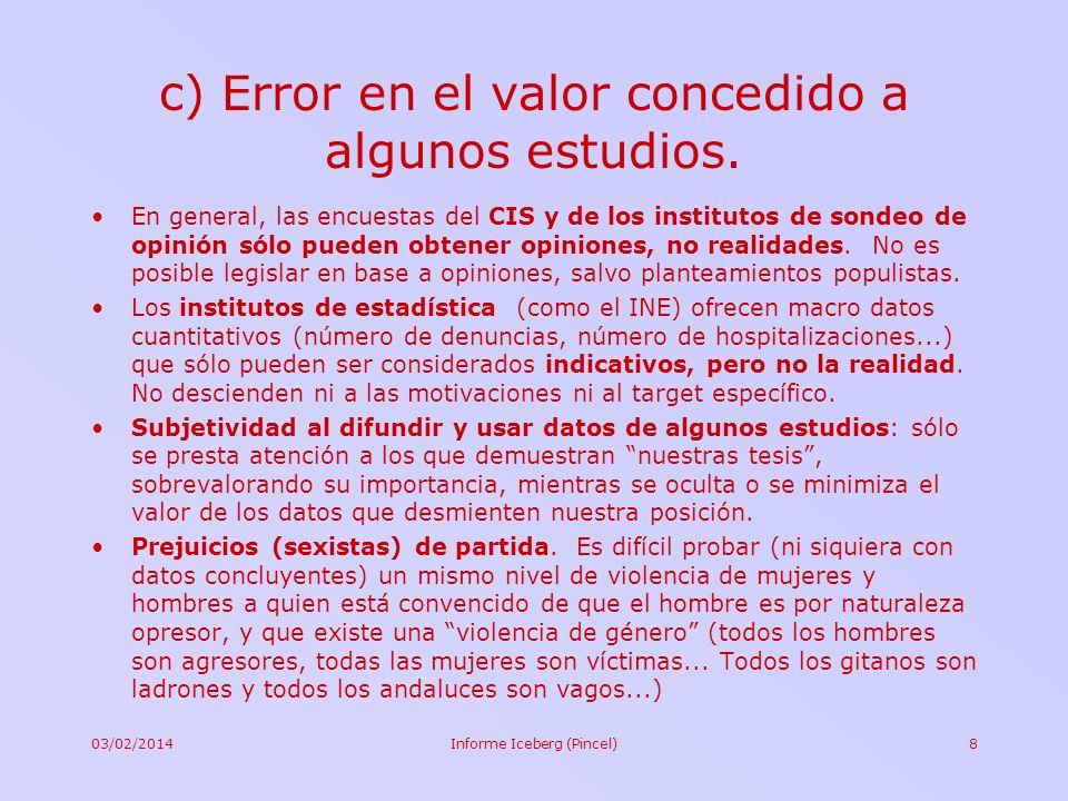 c) Error en el valor concedido a algunos estudios.