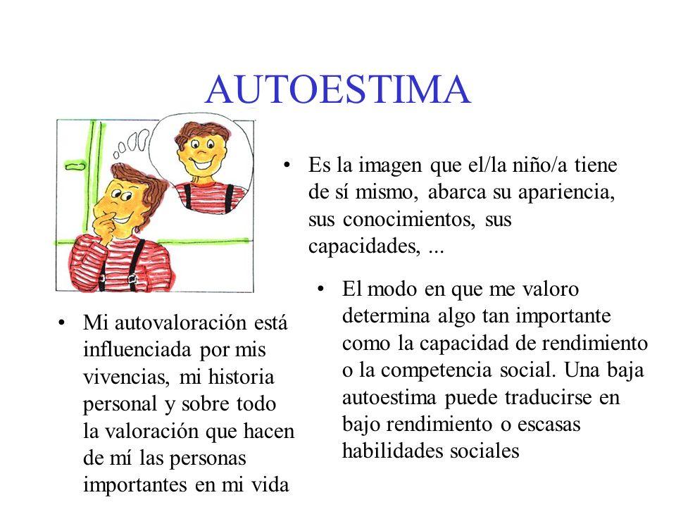 AUTOESTIMA Es la imagen que el/la niño/a tiene de sí mismo, abarca su apariencia, sus conocimientos, sus capacidades, ...