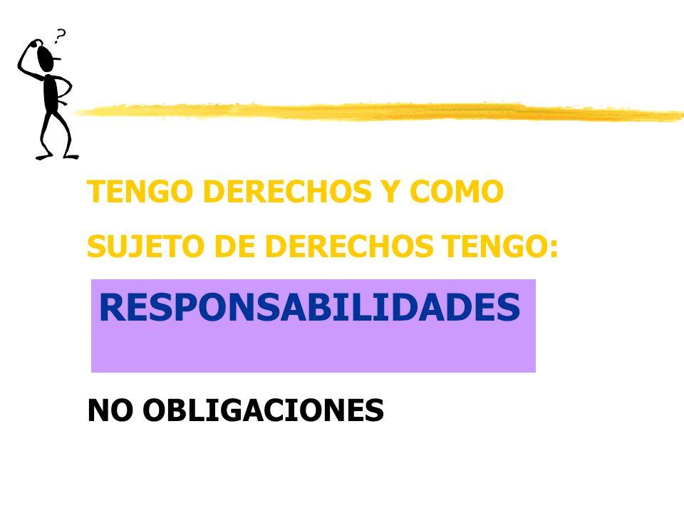 RESPONSABILIDADES TENGO DERECHOS Y COMO SUJETO DE DERECHOS TENGO: