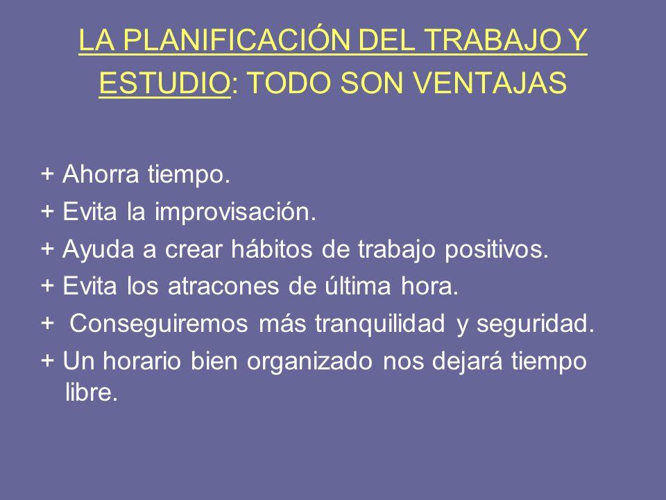 LA PLANIFICACIÓN DEL TRABAJO Y ESTUDIO: TODO SON VENTAJAS